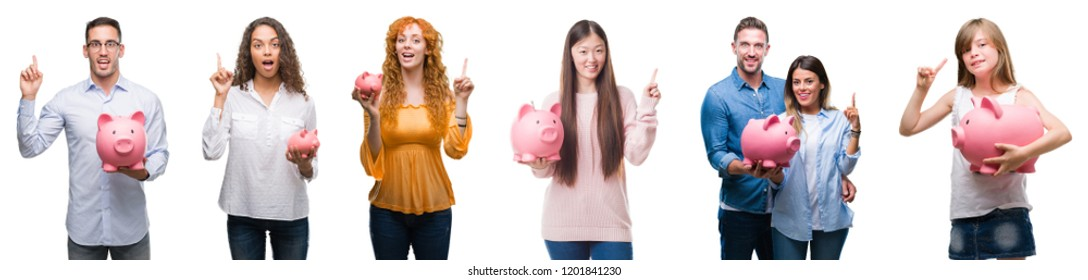 Collage of group of people saving money using piggy bank over isolated background surprised with an idea or question pointing finger with happy face, number one