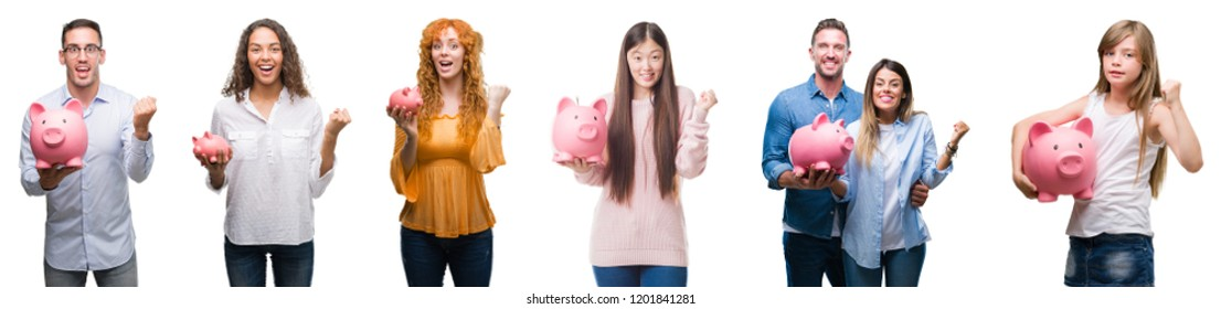 Collage of group of people saving money using piggy bank over isolated background screaming proud and celebrating victory and success very excited, cheering emotion