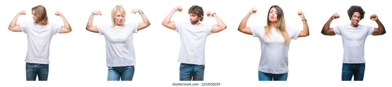 Collage of group of people wearing casual white t-shirt over isolated background showing arms muscles smiling proud. Fitness concept.