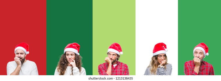 Collage of group of people wearing christmas hat over white and green isolated background looking stressed and nervous with hands on mouth biting nails. Anxiety problem.