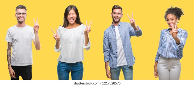 Collage of group people, women and men over colorful yellow isolated background smiling looking to the camera showing fingers doing victory sign. Number two.