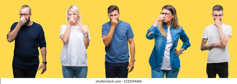 Collage of group people, women and men over colorful yellow isolated background smelling something stinky and disgusting, intolerable smell, holding breath with fingers on nose. Bad smells concept.