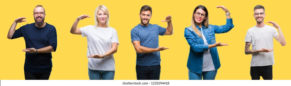 Collage of group people, women and men over colorful yellow isolated background gesturing with hands showing big and large size sign, measure symbol. Smiling looking at the camera. Measuring concept.