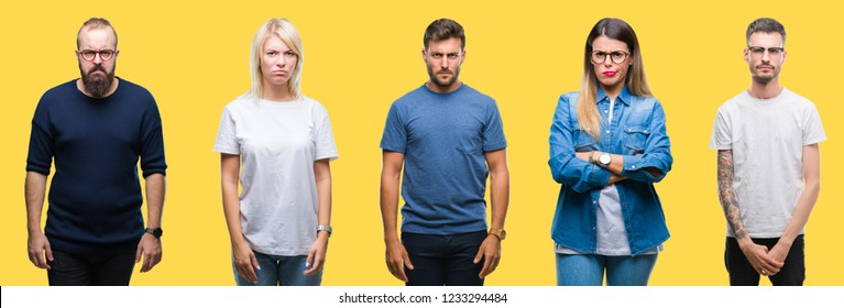 Collage of group people, women and men over colorful yellow isolated background skeptic and nervous, frowning upset because of problem. Negative person.