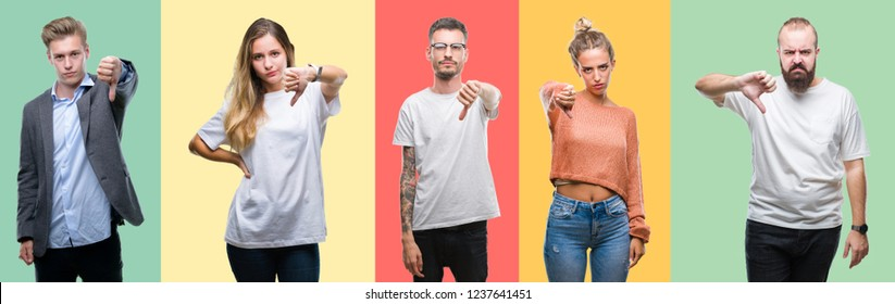 Collage of group people, women and men over colorful isolated background looking unhappy and angry showing rejection and negative with thumbs down gesture. Bad expression. - Shutterstock ID 1237641451