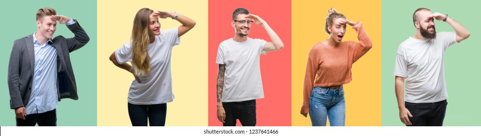 Collage of group people, women and men over colorful isolated background very happy and smiling looking far away with hand over head. Searching concept.