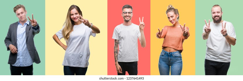 Collage of group people, women and men over colorful isolated background smiling looking to the camera showing fingers doing victory sign. Number two. - Shutterstock ID 1237641493