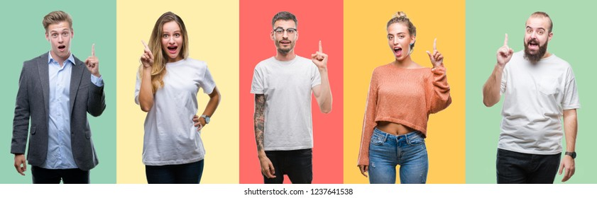 Collage of group people, women and men over colorful isolated background pointing finger up with successful idea. Exited and happy. Number one. - Shutterstock ID 1237641538