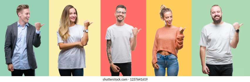Collage of group people, women and men over colorful isolated background smiling with happy face looking and pointing to the side with thumb up.