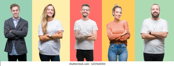 Collage of group people, women and men over colorful isolated background happy face smiling with crossed arms looking at the camera. Positive person.