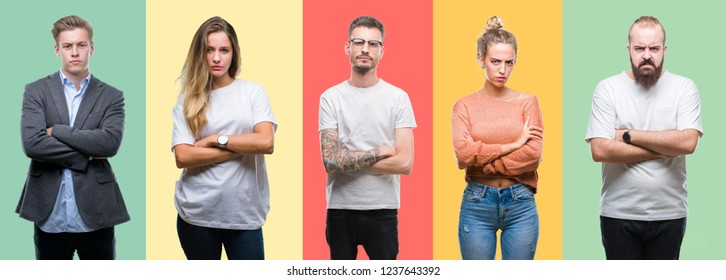 Collage of group people, women and men over colorful isolated background skeptic and nervous, disapproving expression on face with crossed arms. Negative person.
