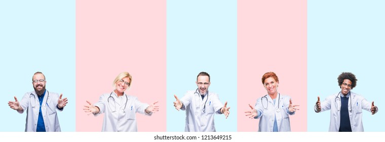 Collage of group professionals doctors wearing medical uniform over isolated background looking at the camera smiling with open arms for hug. Cheerful expression embracing happiness.
