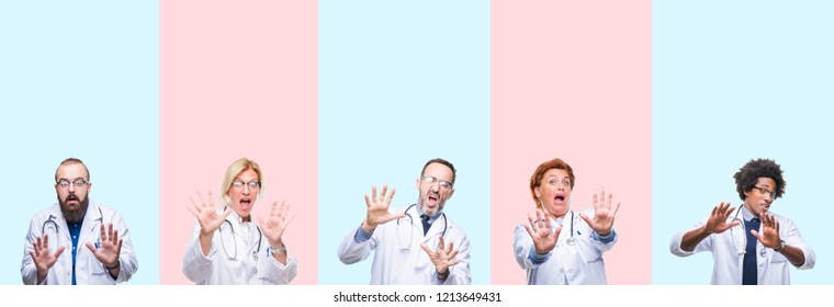 Collage of group professionals doctors wearing medical uniform over isolated background afraid and terrified with fear expression stop gesture with hands, shouting in shock. Panic concept.