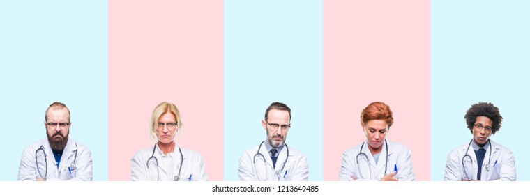 Collage of group professionals doctors wearing medical uniform over isolated background skeptic and nervous, disapproving expression on face with crossed arms. Negative person.