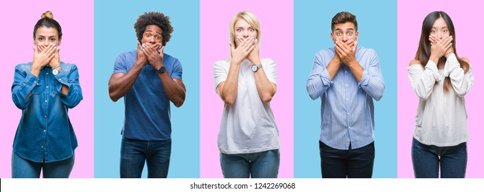 Collage of group of young casual people over colorful isolated background shocked covering mouth with hands for mistake. Secret concept.