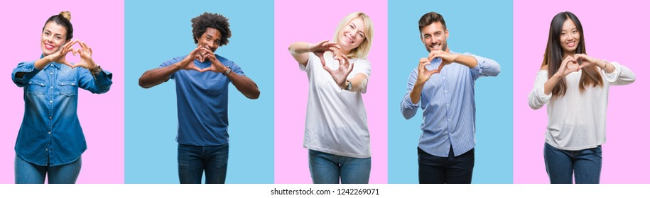 Collage of group of young casual people over colorful isolated background smiling in love showing heart symbol and shape with hands. Romantic concept.