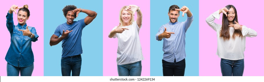 Collage of group of young casual people over colorful isolated background smiling making frame with hands and fingers with happy face. Creativity and photography concept.