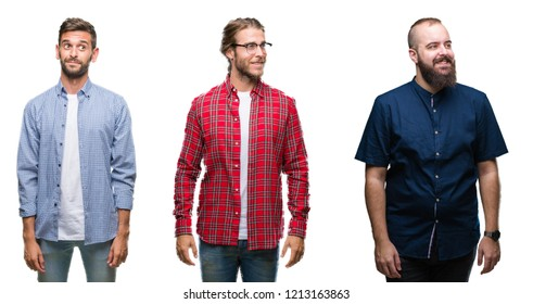 Collage of group of young men over white isolated background smiling looking side and staring away thinking.