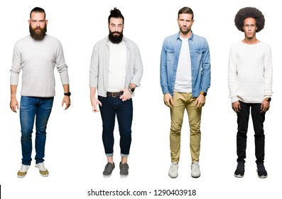 Collage of group of young men over white isolated background skeptic and nervous, frowning upset because of problem. Negative person.
