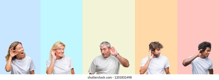 Collage of group of young and middle age people wearing white t-shirt over color isolated background smiling with hand over ear listening an hearing to rumor or gossip. Deafness concept.