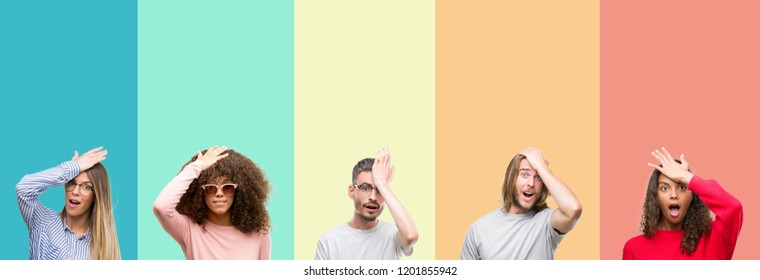 Collage of group of young people over colorful vintage isolated background surprised with hand on head for mistake, remember error. Forgot, bad memory concept.