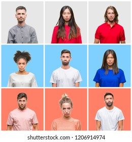 Collage of group of young people over colorful isolated background depressed and worry for distress, crying angry and afraid. Sad expression.