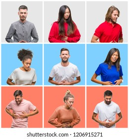Collage of group of young people over colorful isolated background with hand on stomach because indigestion, painful illness feeling unwell. Ache concept.