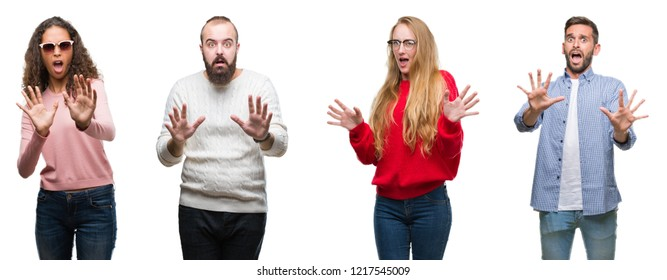 Collage of group of young people over white isolated background afraid and terrified with fear expression stop gesture with hands, shouting in shock. Panic concept.