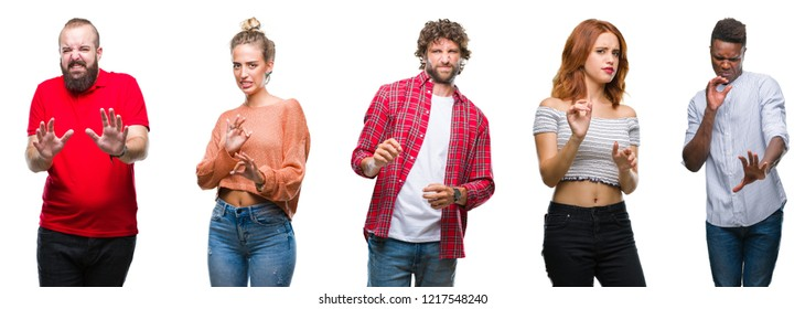 Collage of group of young people over colorful isolated background disgusted expression, displeased and fearful doing disgust face because aversion reaction. With hands raised. Annoying concept.