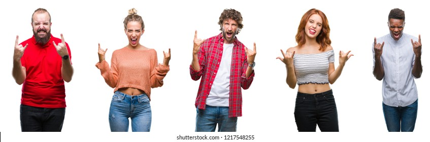 Collage of group of young people over colorful isolated background shouting with crazy expression doing rock symbol with hands up. Music star. Heavy concept.