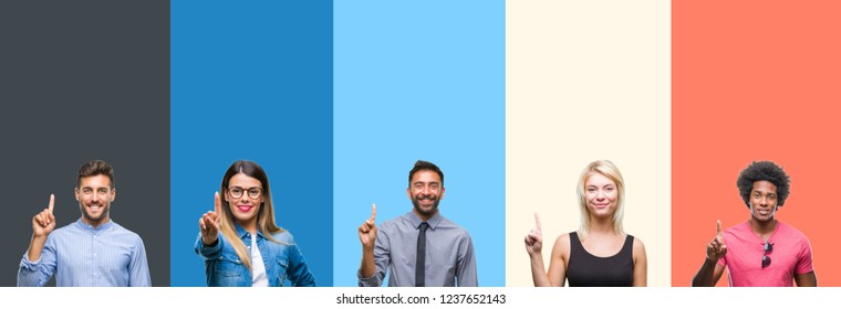 Collage of group of young people over colorful vintage isolated background showing and pointing up with finger number one while smiling confident and happy. - Shutterstock ID 1237652143