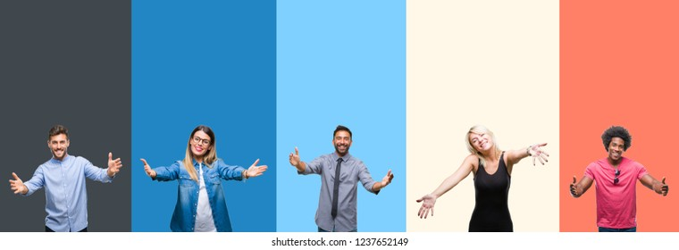 Collage of group of young people over colorful vintage isolated background looking at the camera smiling with open arms for hug. Cheerful expression embracing happiness.