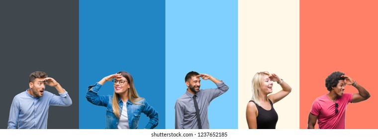 Collage of group of young people over colorful vintage isolated background very happy and smiling looking far away with hand over head. Searching concept.