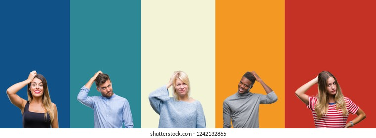 Collage of group of young people over colorful vintage isolated background confuse and wonder about question. Uncertain with doubt, thinking with hand on head. Pensive concept.
