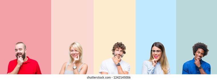 Collage of group of young people over colorful vintage isolated background looking confident at the camera with smile with crossed arms and hand raised on chin. Thinking positive.