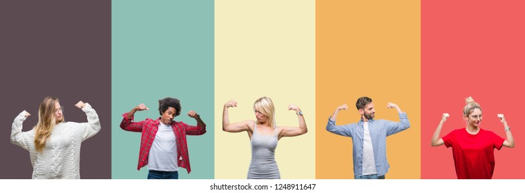 Collage of group of young people over colorful vintage isolated background showing arms muscles smiling proud. Fitness concept.