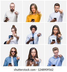 Collage of group of young people using smartphone over isolated background pointing with finger to the camera and to you, hand sign, positive and confident gesture from the front