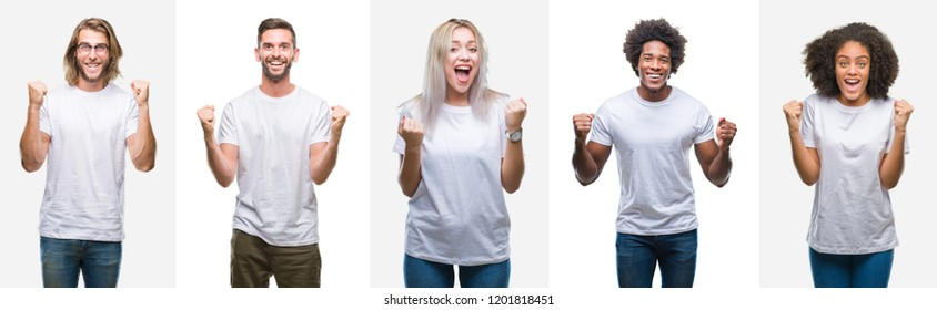 Collage of group of young people wearing white t-shirt over isolated background celebrating surprised and amazed for success with arms raised and open eyes. Winner concept.