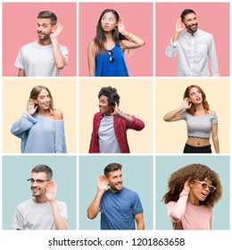 Collage of group of young people woman and men over colorful isolated background smiling with hand over ear listening an hearing to rumor or gossip. Deafness concept.