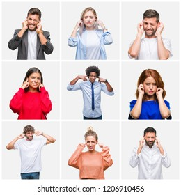 Collage of group of young people woman and men over isolated background covering ears with fingers with annoyed expression for the noise of loud music. Deaf concept.