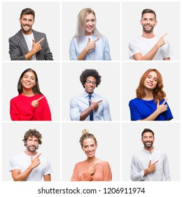 Collage of group of young people woman and men over isolated background cheerful with a smile of face pointing with hand and finger up to the side with happy and natural expression on face