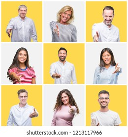 Collage of group of young and senior people over yellow isolated background smiling friendly offering handshake as greeting and welcoming. Successful business.