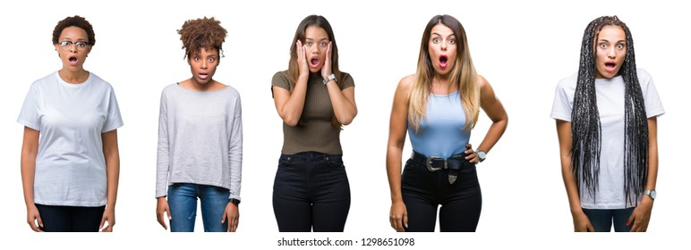 Collage of group of young women over isolated background afraid and shocked with surprise expression, fear and excited face.