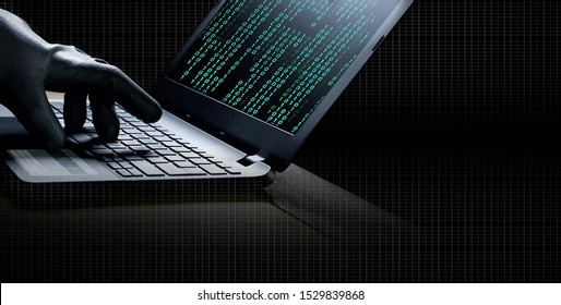 collage of hacker hand in black glove using laptop to hacking system with binary code in screen on the desk with white grid striped in dark night background, hacking and internet cyber crime concept