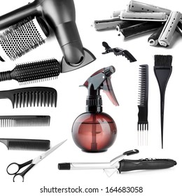 Collage of hairdressing tools isolated on white