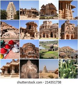 Collage of Hampi, Karnataka, India