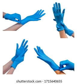 Collage of Hands in blue doctor medical latex gloves isolated on the white background. Putting  protective gloves