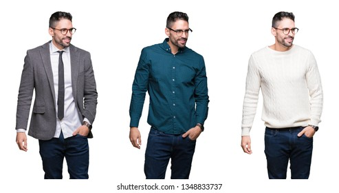 Collage of handsome business man over white isolated background looking away to side with smile on face, natural expression. Laughing confident.