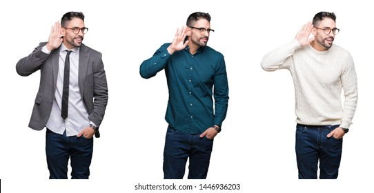 Collage of handsome business man over white isolated background smiling with hand over ear listening an hearing to rumor or gossip. Deafness concept.