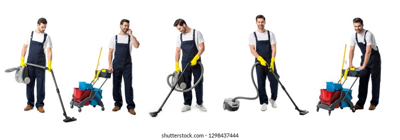 collage of handsome cleaner in blue uniform vacuums, moves pushcart and talking on smartphone isolated on white